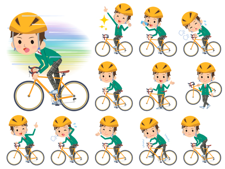 Set of various poses of school boy Green Blazer on rode bicycle  イラスト・ベクター素材