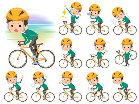 blazer: Set of various poses of school boy Green Blazer on rode bicycle Illustration