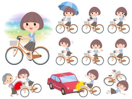 mash: Set of various poses of Mash hair blue cardigan ride on city bicycle Illustration