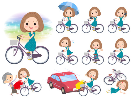 Set of various poses of Bob hair green dress women ride on city bicycle Illustration