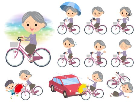 persona mayor: Set of various poses of Purple clothes grandmother ride on city bicycle