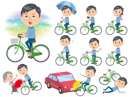 Set of various poses of Blue clothing glass dad ride on city bicycle