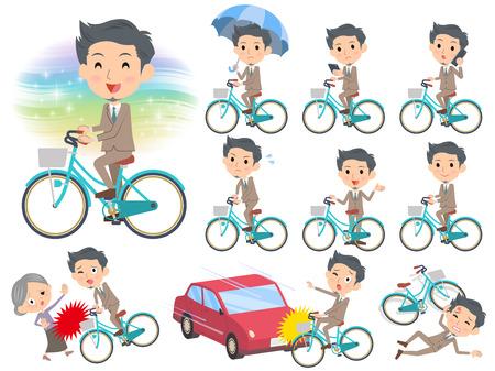 Set of various poses of Beige suit short hair beard man ride on city bicycle