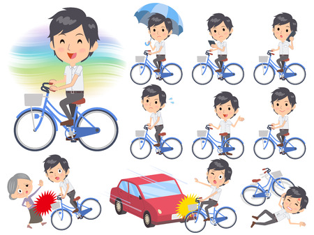 Set of various poses of White short sleeved shirt business men ride on city bicycle