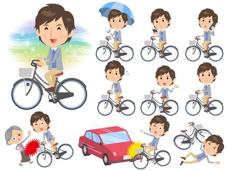 Set of various poses of Jacket blue vest men ride on city bicycle