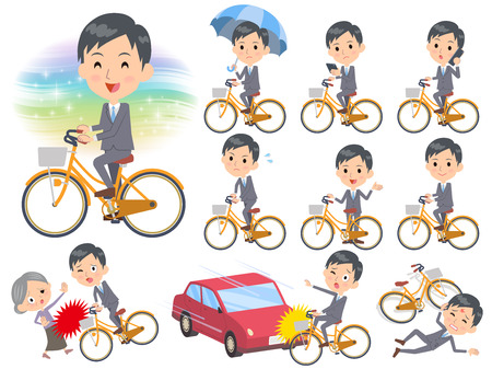 Set of various poses of Gray Suit Businessman ride on city bicycle