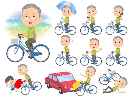 old man standing: Set of various poses of Green vest grandfather ride on city bicycle