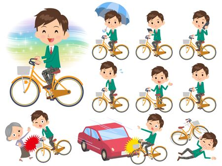 Set of various poses of school boy Green Blazer ride on city bicycle