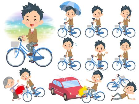 Set of various poses of school boy Brown Blazer ride on city bicycle