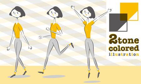 woman walk: Set of various poses of woman Pants style In Smart form walk Run Jump Illustration