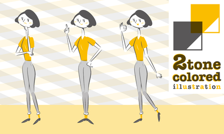 Set of various poses of woman Pants style In Smart form worry guide OK