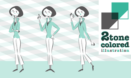 smart woman: Set of various poses of woman jacket fashion in smart form worry guide OK