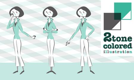 smart woman: Set of various poses of woman jacket fashion in smart form surprised