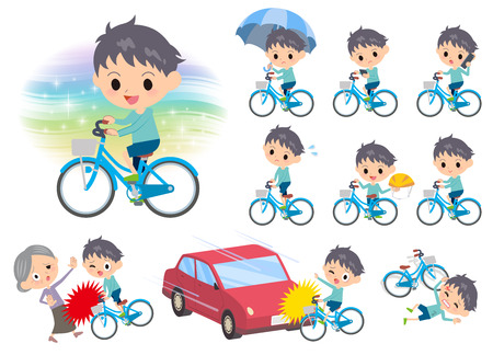 Set of various poses of blue clothing boy ride on city bicycle