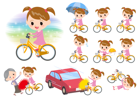 accident: Set of various poses of Pink clothing girl ride on city bicycle Illustration
