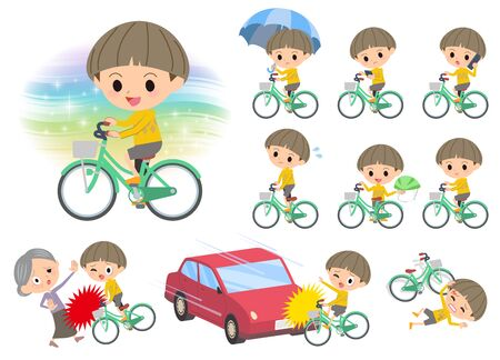 Set of various poses of Yellow clothes Bobbed boy ride on city bicycle