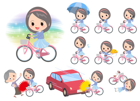 accident: Set of various poses of Blue clothes headband girl ride on city bicycle