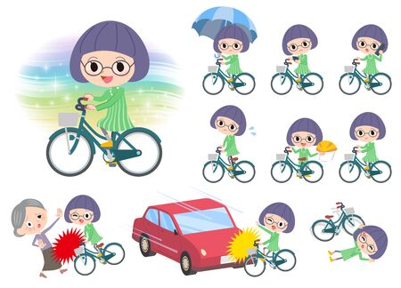 bobbed: Set of various poses of Green clothes Bobbed Glasses girl ride on city bicycle