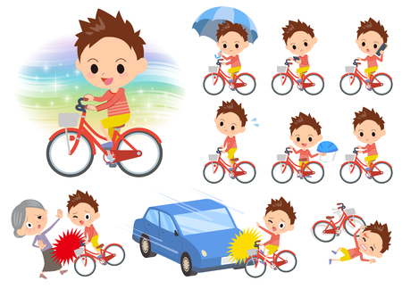 Set of various poses of Red clothing short hair boy ride on city bicycle