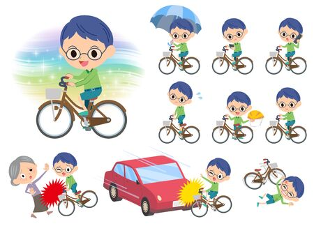 Set of various poses of Green clothing glasses boy ride on city bicycle  イラスト・ベクター素材