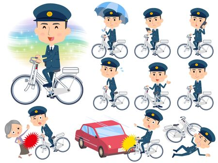 Set of various poses of police men ride on city bicycle