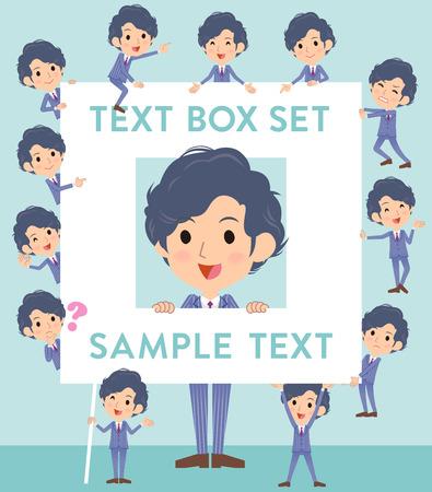 Set of various poses of blue Suit Businessman text box