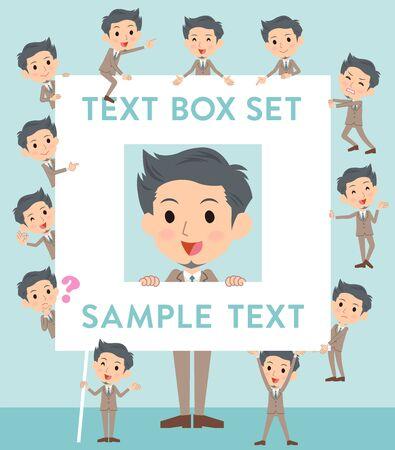fingering: Set of various poses of Beige suit short hair beard man text box Illustration
