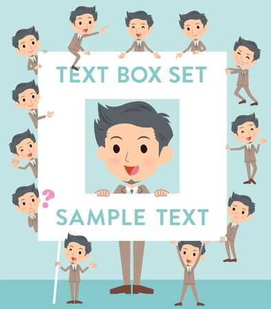 Set of various poses of Beige suit short hair beard man text box Illustration