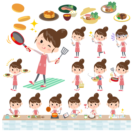 Set of various poses of Ballet Bun hair Apron mom cooking  イラスト・ベクター素材