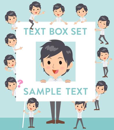 Set of various poses of White short sleeved shirt business men text box Illustration