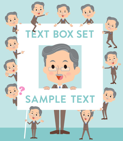 Set of various poses of Double suit beard old man text box