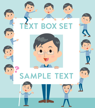 Set of various poses of Blue clothing glass dad text box Illustration