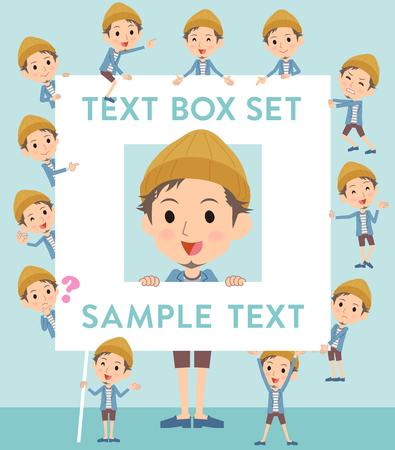 Set of various poses of Jacket Short pants knit hat man text box