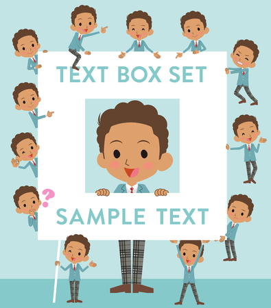 Set of various poses of Black schoolboy text box
