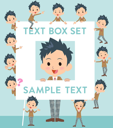 Set of various poses of school boy Brown Blazer text box Illustration