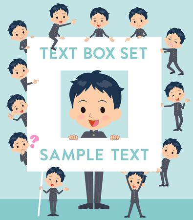 Set of various poses of school boy gakuran text box
