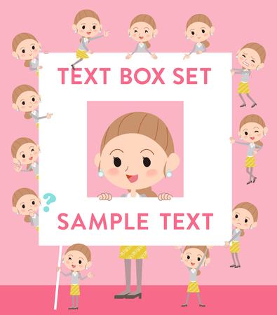Set of various poses of Behind knot hair yellow skirt woman text box