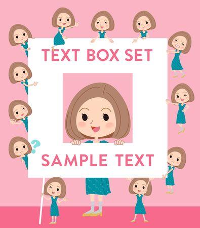 Set of various poses of Bob hair green dress woman text box