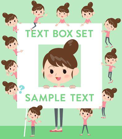 Set of various poses of Bun hair mom Pants style text box