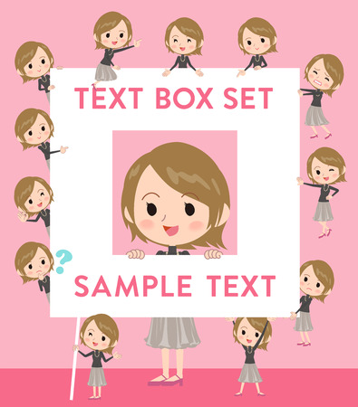 Set of various poses of Short hair black high necked woman text box