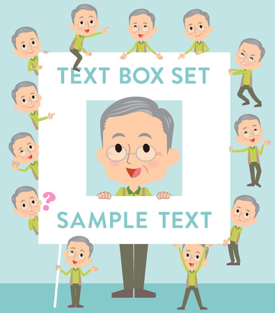 Set of various poses of Green vest grandfather text box Illustration