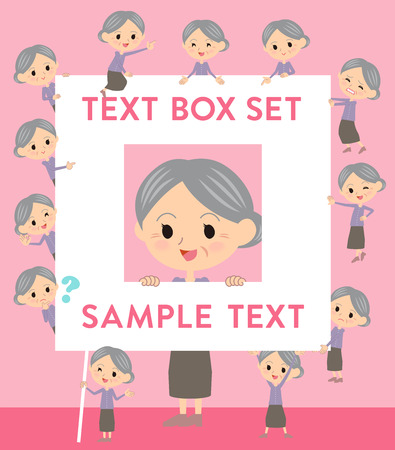 Set of various poses of Purple clothes grandmother text box