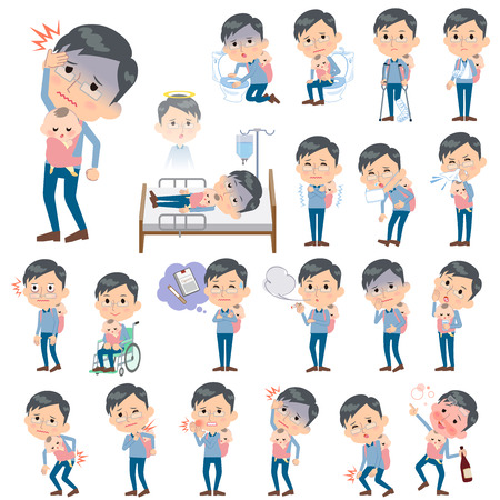 vomiting: Set of various poses of Dad and baby sickness Illustration