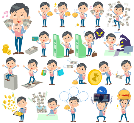 Set of various poses of Dad and baby money