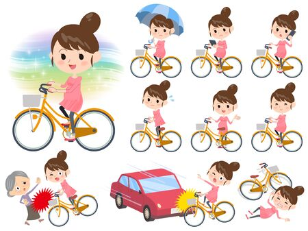 Set of various poses of Pregnant woman ride on city bicycle