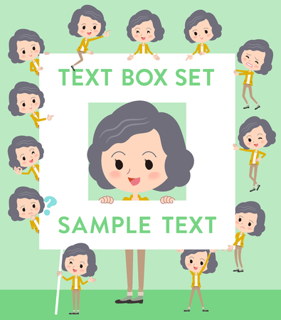 Set of various poses of Yellow jacket Middle woman text box