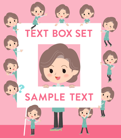 Set of various poses of Blue-green tunic Middle woman text box