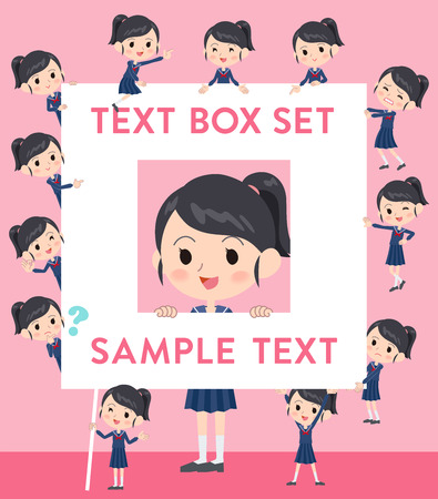Set of various poses of school girl Sailor suit text box Illustration