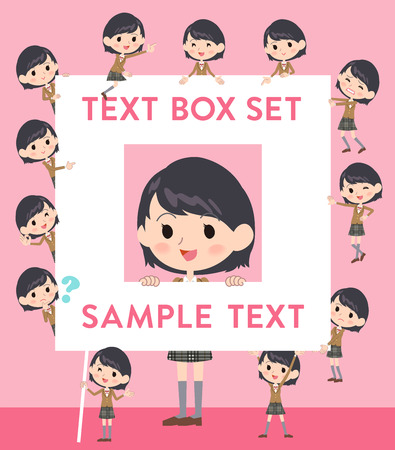 brown box: Set of various poses of school girl Brown Blazer text box