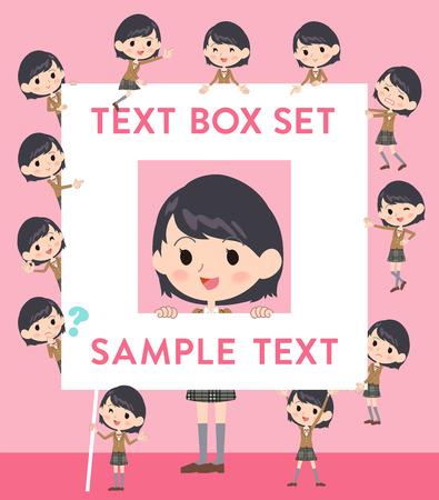 fingering: Set of various poses of school girl Brown Blazer text box